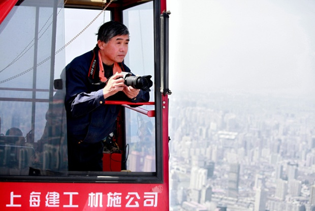 Crane operator wins photo competition prize for aerial photos taken from his crane, Shanghai, China - 26 Nov 2013